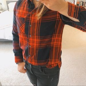 Old Navy Red and Black Plaid Button Down